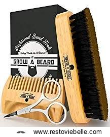 Beard Brush and Comb - Best Bamboo Beard Kit for Home and Travel