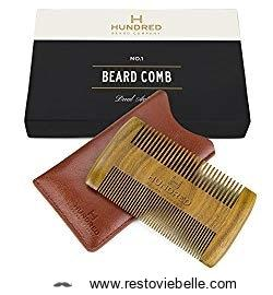 Dual Action Beard Comb Sandalwood - Perfect for Balm and Oil