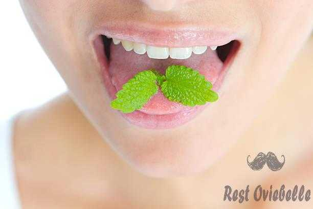 Close-up of mint leaves on a woman's tongue Taste of toothpaste for bad breath