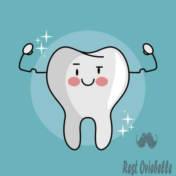 Tooth funny cartoon vector art illustration whitening mouthwashes