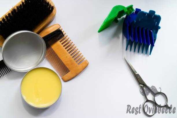 flat lay of beard grooming kit wax combs brush and scissors. - natural oils beard s and pictures How To Straighten Black Beard Hair?