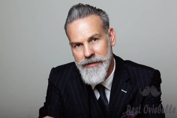 portrait of attractive bearded gentleman wearing trendy suit over empty gray background. studio shot fashion concept. - beard s and pictures What is the difference between beard balm and beard/mustache wax?