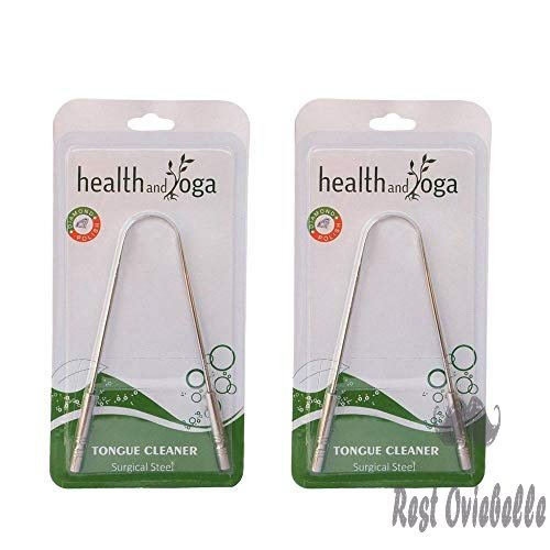 HealthAndYoga Surgical Grade Stainless Steel Tongue Cleaner Scraper